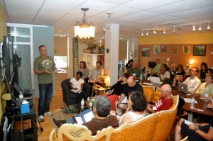 "Alex Miranda presents ""Blogging for SEO"" at the WatercoolerHub in Tarrytown."