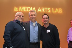 "Michael Balkind, ""Be the Media"" author and keynote speaker David Mathison and POUR owner Anthony Colasacco at the 4th Westchester TweetUp held January 21 at the Jacob Burns Film Center's Media Arts Lab in Pleasantville. Photo by Chris S. Cornell."