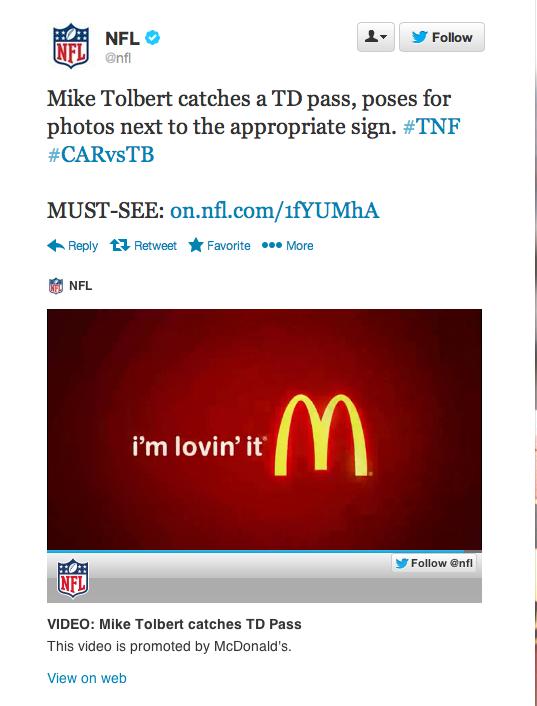 McDonald's NFL Twitter ad